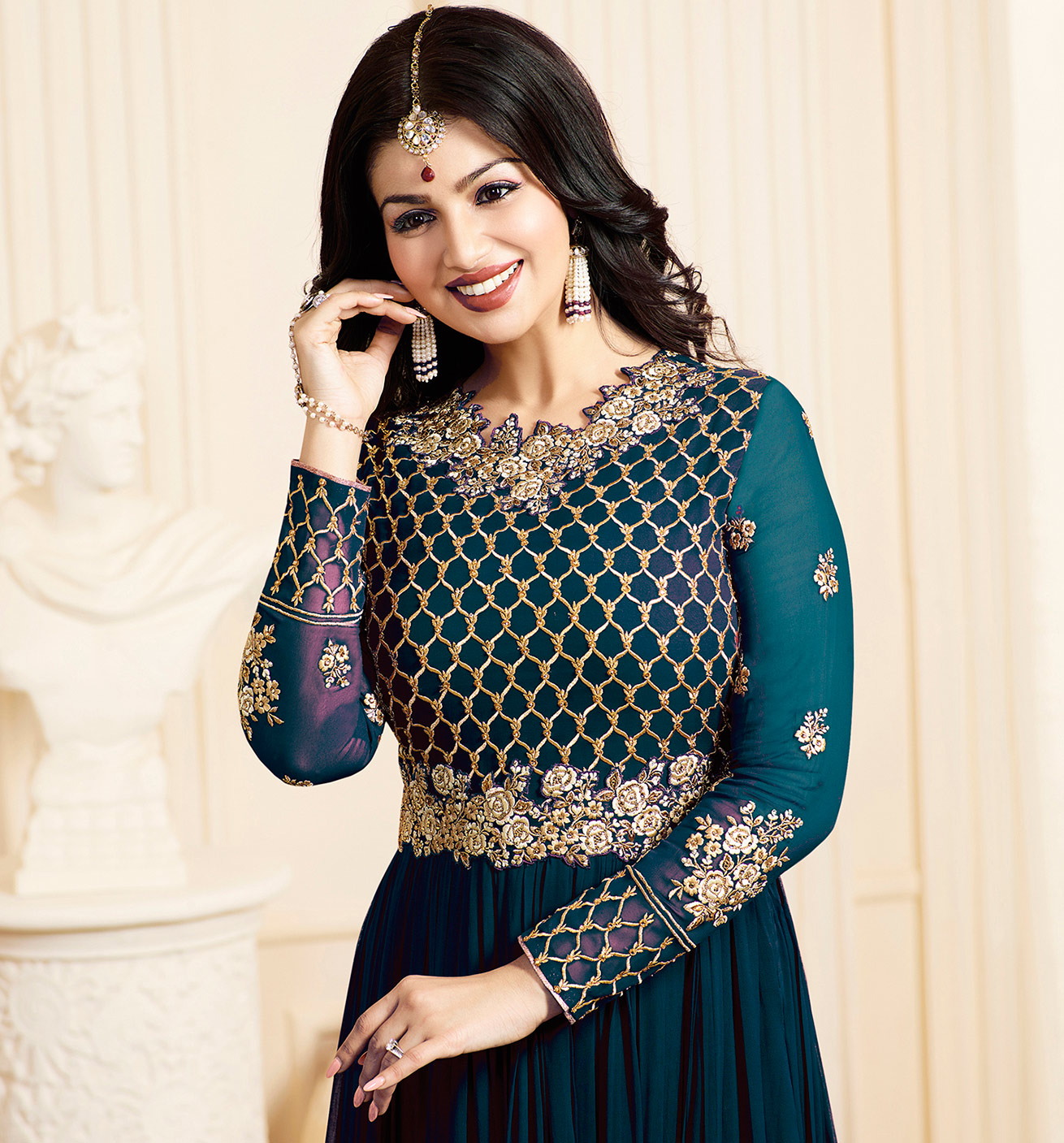 Gorgeous Party wear Rama Green Designer Embroidered Georgette Anarkali Suit