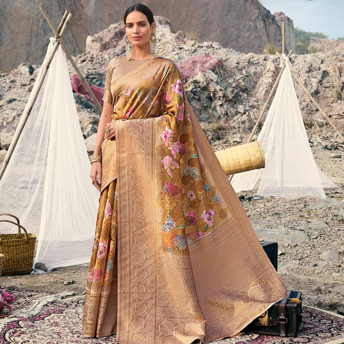 Refreshing Golden Yellow Colored Partywear Digital Floral Printed Silk Saree