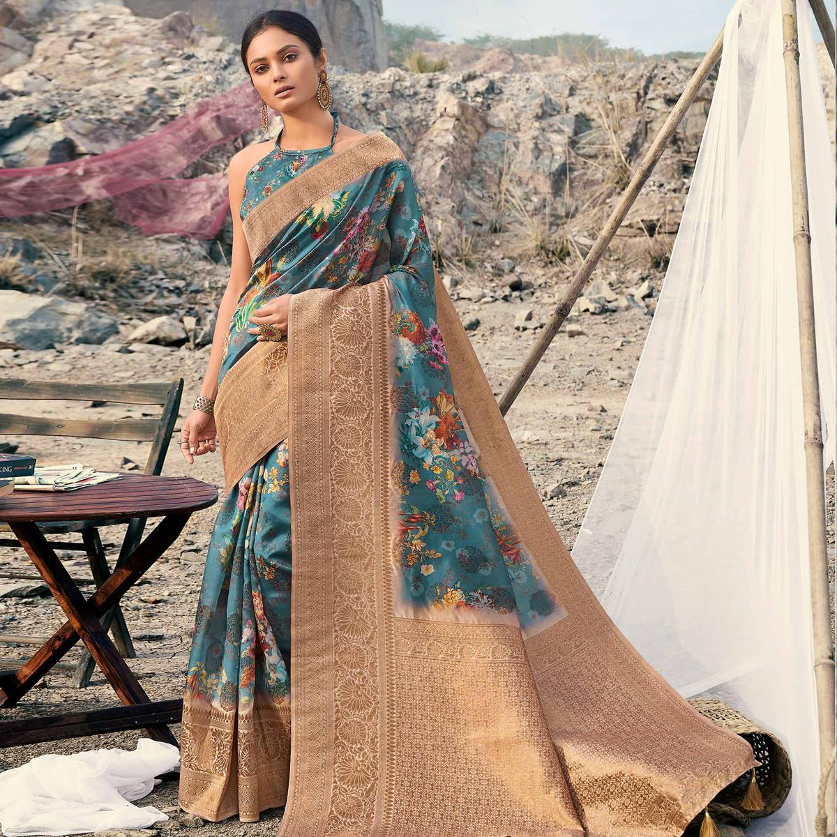 Magnetic Turquoise Colored Partywear Digital Floral Printed Silk Saree