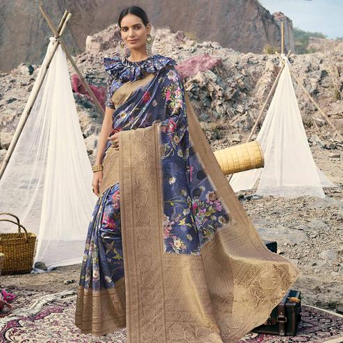 Excellent Navy Blue Colored Partywear Digital Floral Printed Silk Saree