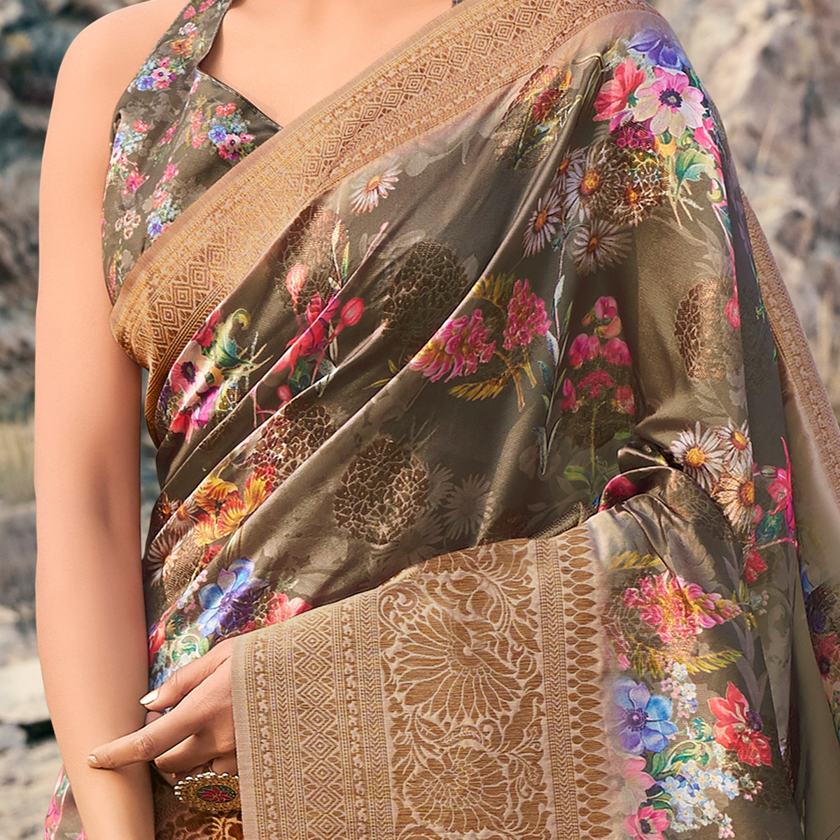 Preferable Olive Green Colored Partywear Digital Floral Printed Silk Saree