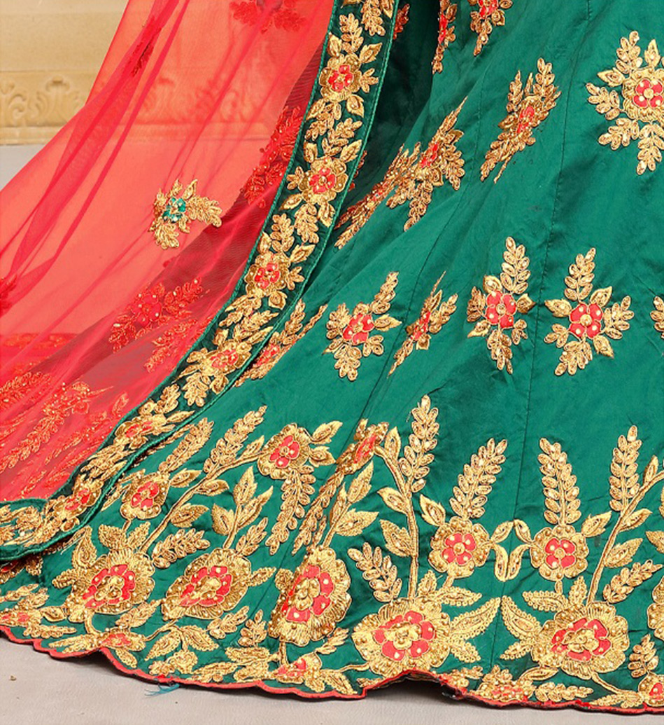 Rama Heavy Embroidered Work Tapetta Silk Designer Lehenga Choli