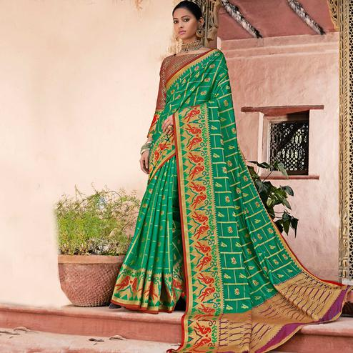 Flirty Green Colored Festive Wear Woven Silk Saree
