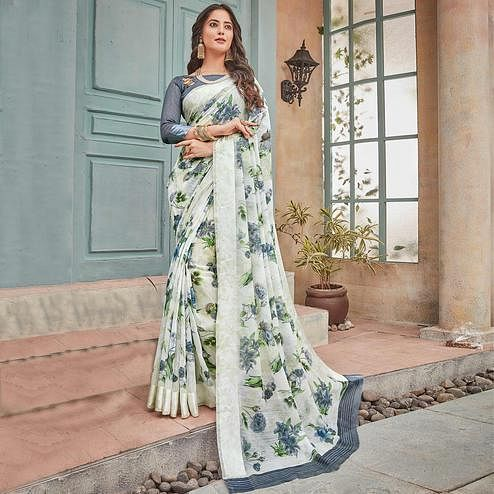 Ethnic White-Grey Colored Partywear Floral Printed Cotton Saree
