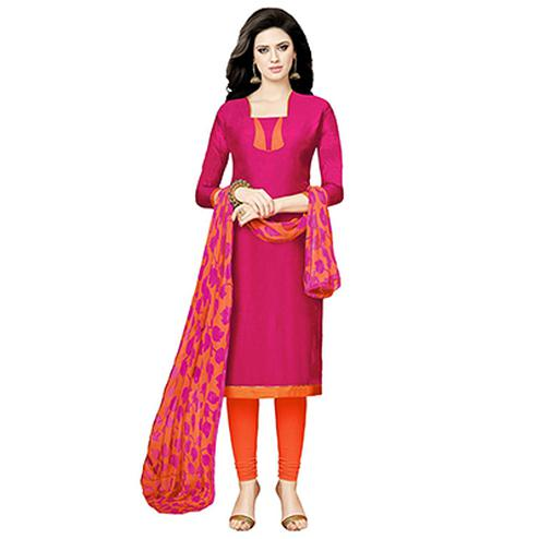 Magenta - Orange Casual Wear Salwar Suit