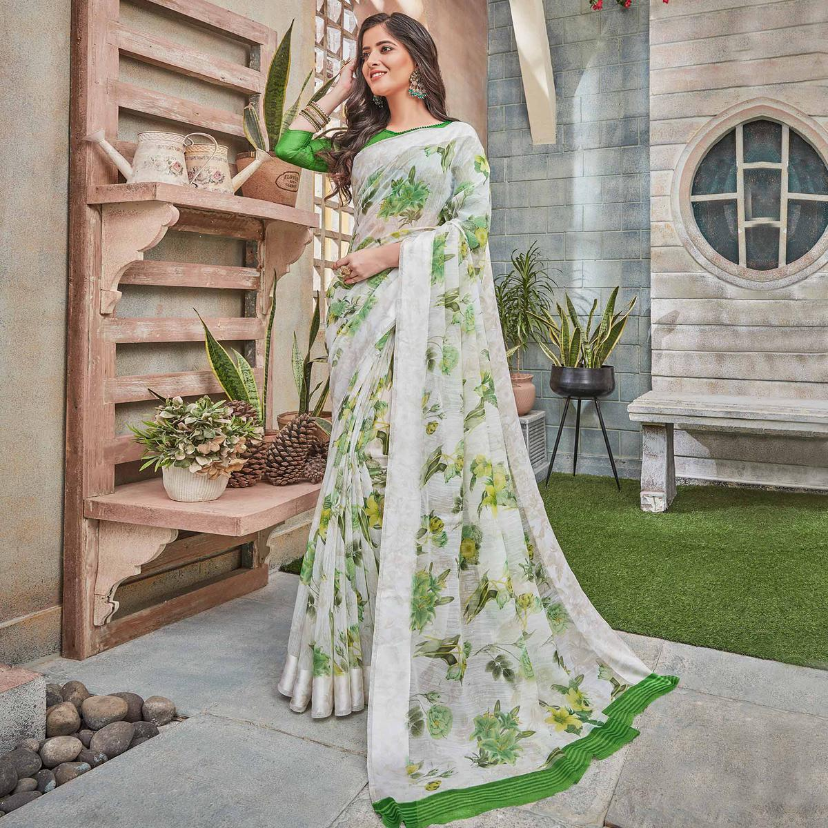 Staring White-Green Colored Partywear Floral Printed Cotton Saree
