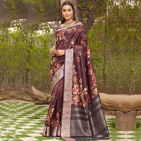 Intricate Brown Colored Partywear Floral Digital Printed Silk Saree