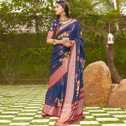 Arresting Navy Blue Colored Partywear Floral Digital Printed Silk Saree