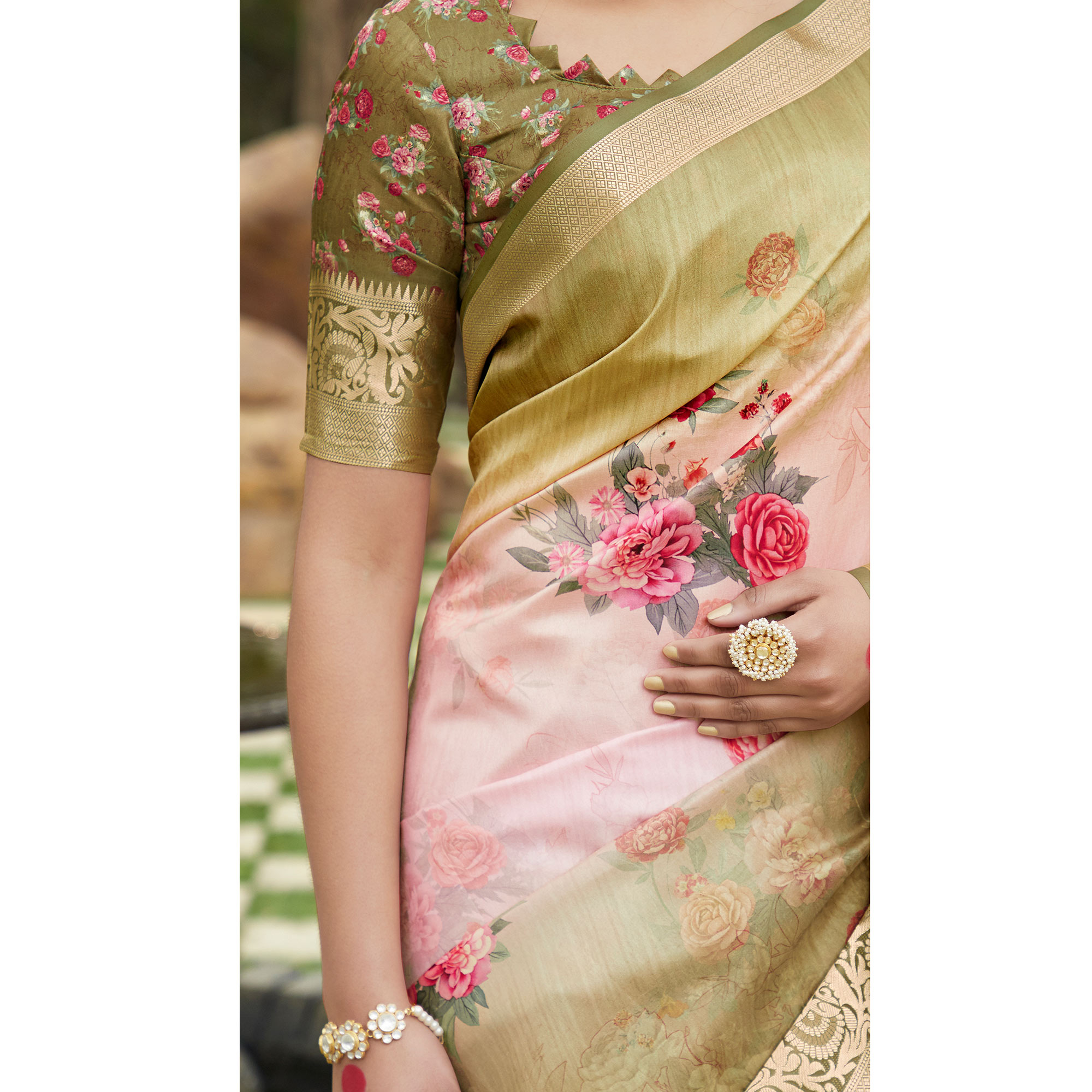 Desirable Pink-Olive Green Colored Partywear Floral Digital Printed Silk Saree
