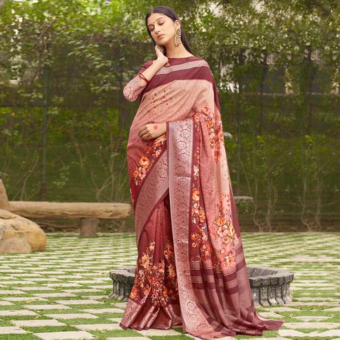 Exotic Maroon Colored Partywear Floral Digital Printed Silk Saree