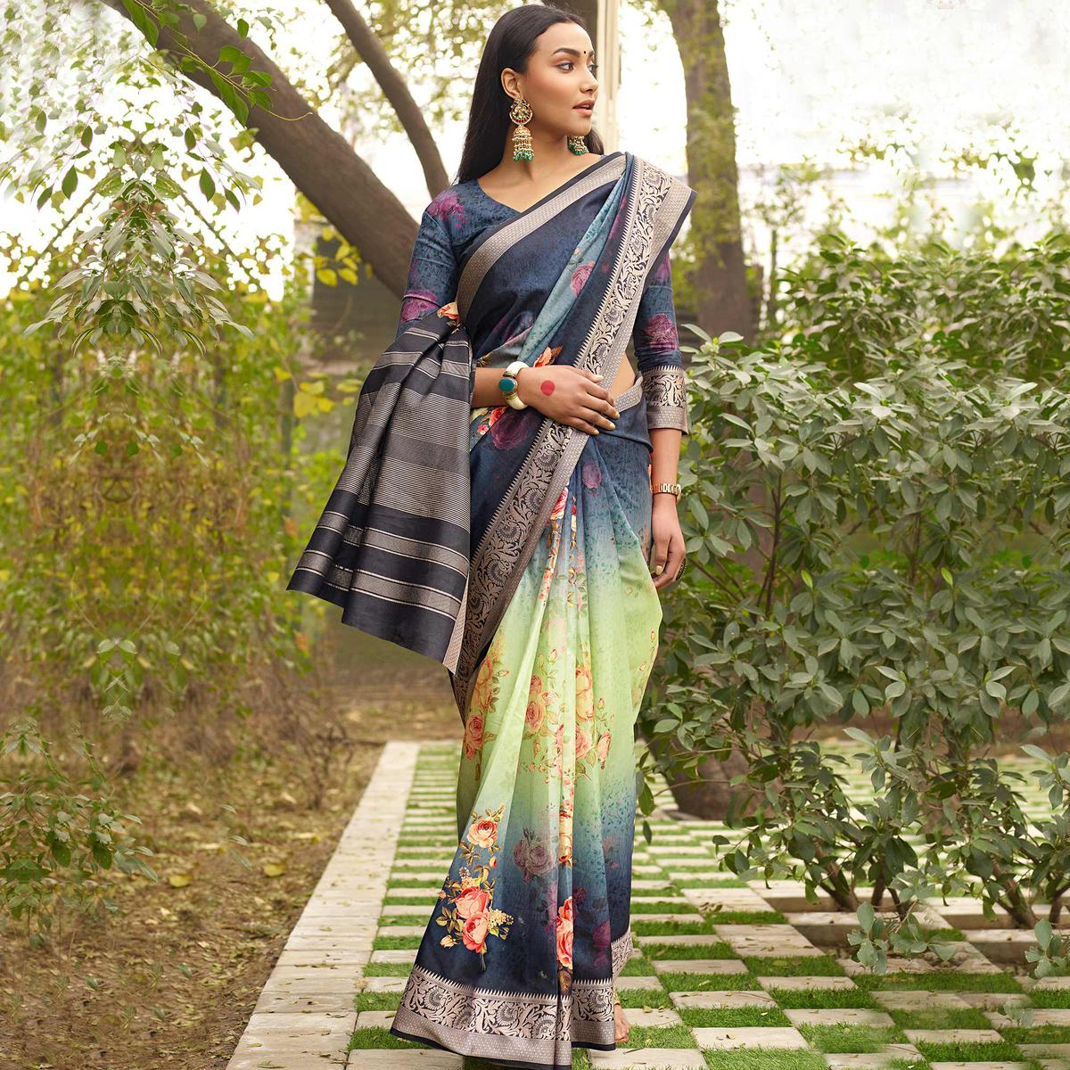 Sophisticated Green-Blue Colored Partywear Floral Digital Printed Silk Saree