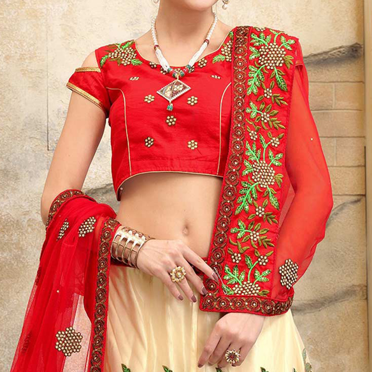 Remarkable Cream Wedding Embroidered Designer Lehenga Choli