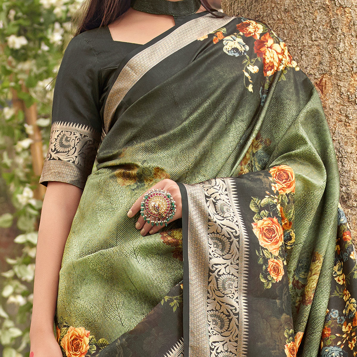 Radiant Green Colored Partywear Floral Digital Printed Silk Saree