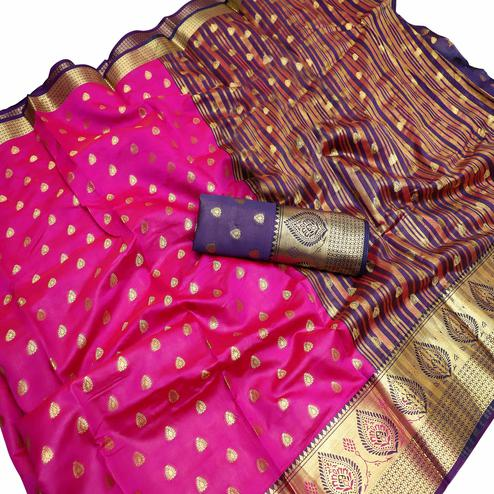 Glowing Hot Pink Colored Festive Wear Woven Litchi Kota Silk Saree