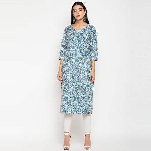 Darzaania - Blue Colored casual Wear Printed Cotton Kurti