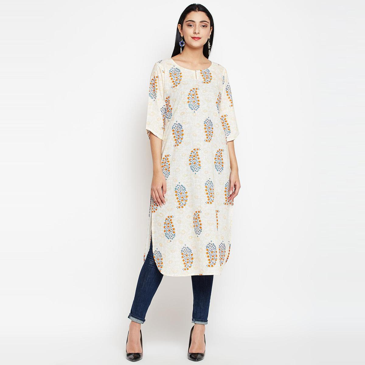 Darzaania - Cream Colored Casual Wear Floral-Paisley Printed Cotton Kurti