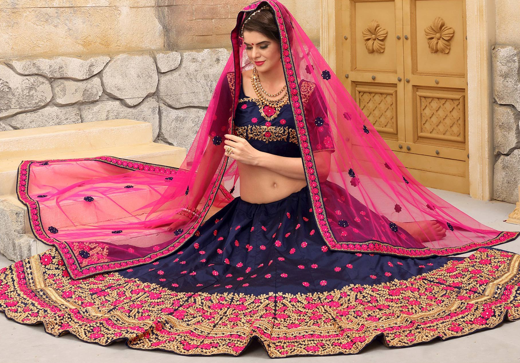 Classy Blue Tapetta Silk Wedding Embroidered Designer Lehenga Choli