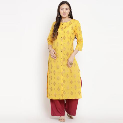 Darzaania - Yellow Colored Casual Wear Printed Cotton Kurti