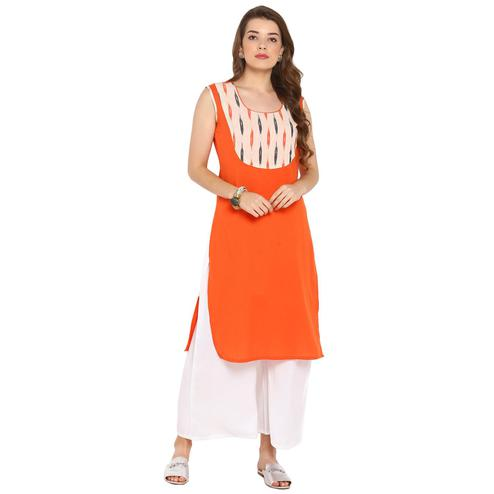 Darzaania - Orange Colored Casual Wear Cotton Kurti
