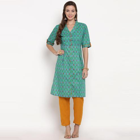 Darzaania - Green Colored Casual Wear Printed Cotton Kurti