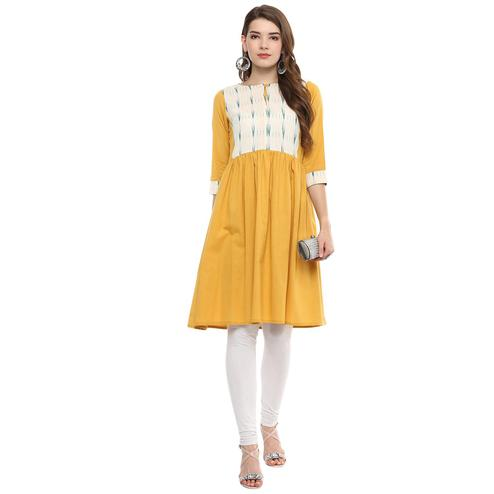 Darzaania - Mustard Yellow Colored Casual Wear Cotton Kurti