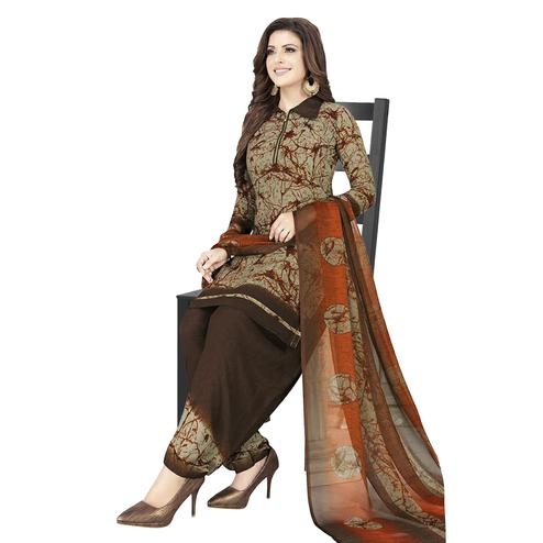 Blissful Brown-Orange Colored Casual Wear Printed Crepe Patiala Dress Material