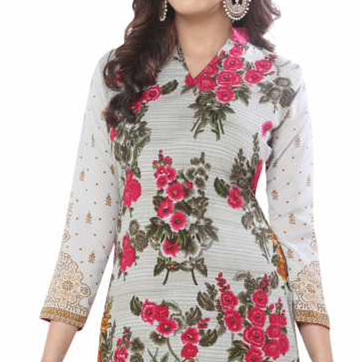 Classy Grey-Pink Colored Casual Wear Printed Crepe Dress Material