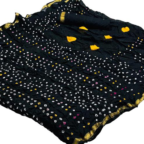 Adorable Black Colored Party Wear Bandhani Printed Cotton Silk Saree