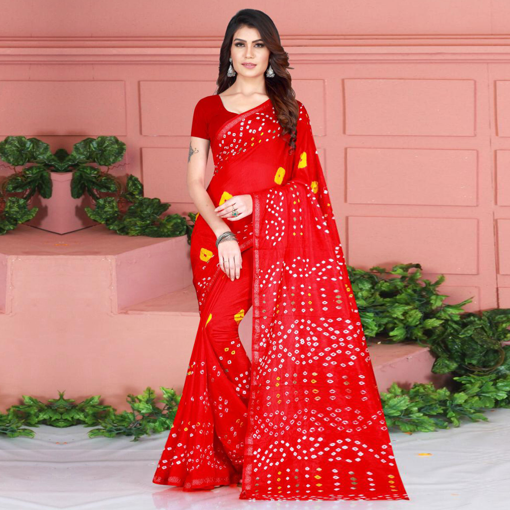 Glorious Red Colored Party Wear Bandhani Printed Cotton Silk Saree