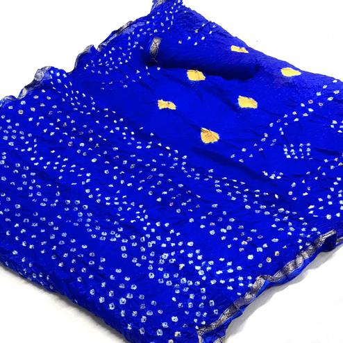 Beautiful Blue Colored Party Wear Bandhani Printed Cotton Silk Saree
