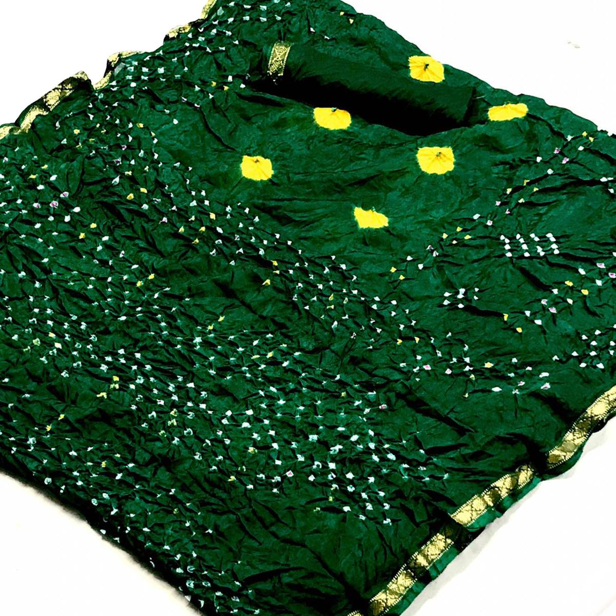Graceful Green Colored Party Wear Bandhani Printed Cotton Silk Saree