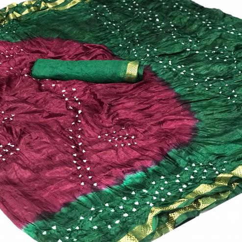 Charming Wine-Green Colored Party Wear Bandhani Printed Cotton Silk Saree