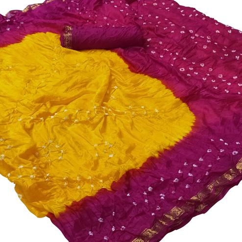 Engrossing Yellow-Pink Colored Party Wear Bandhani Printed Cotton Silk Saree
