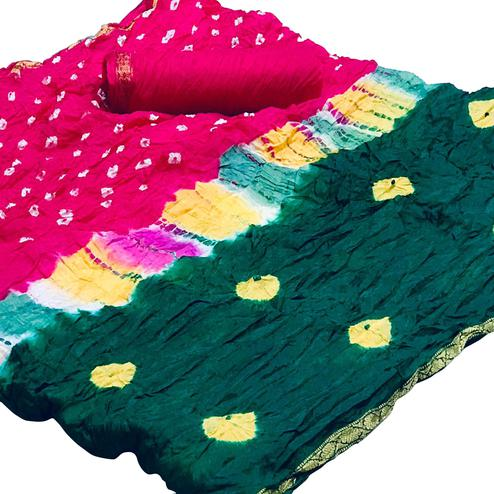 Amazing Green-Pink Colored Party Wear Bandhani Printed Cotton Silk Saree