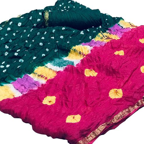 Lovely Pink-Green Colored Party Wear Bandhani Printed Cotton Silk Saree