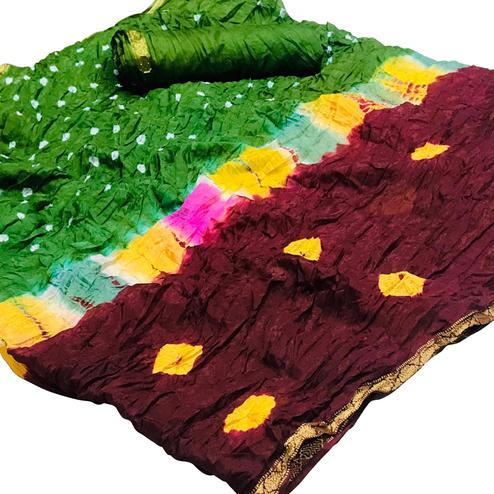 Majesty Green-Maroon Colored Party Wear Bandhani Printed Cotton Silk Saree