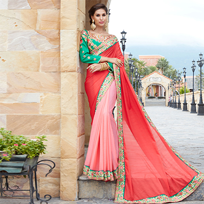 Majectic Red And Pink Designer Partywear Saree