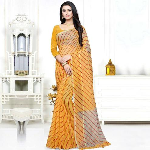 Gleaming Yellow Colored Casual Wear Stripe Printed Kota Doria Cotton Saree With Tassels