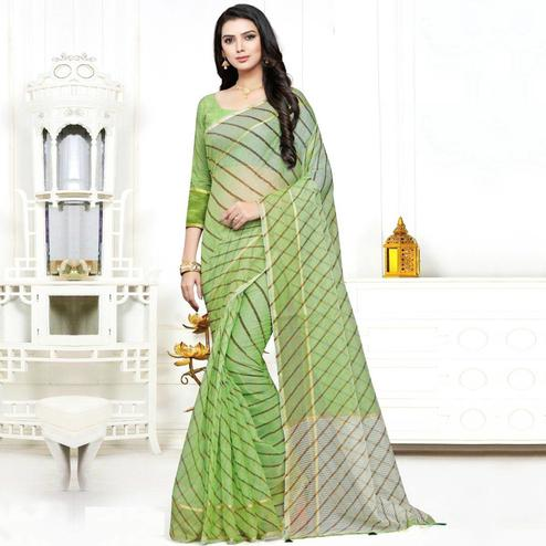 Demanding Green Colored Casual Wear Stripe Printed Kota Doria Cotton Saree With Tassels