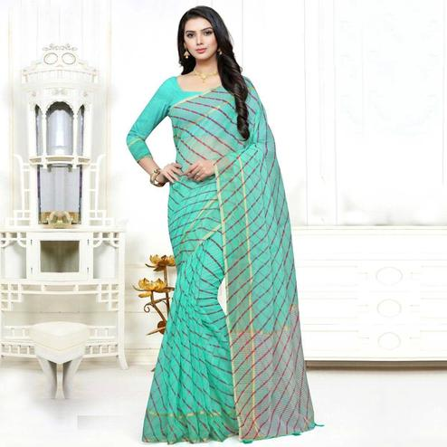Magnetic Blue Colored Casual Wear Stripe Printed Kota Doria Cotton Saree With Tassels