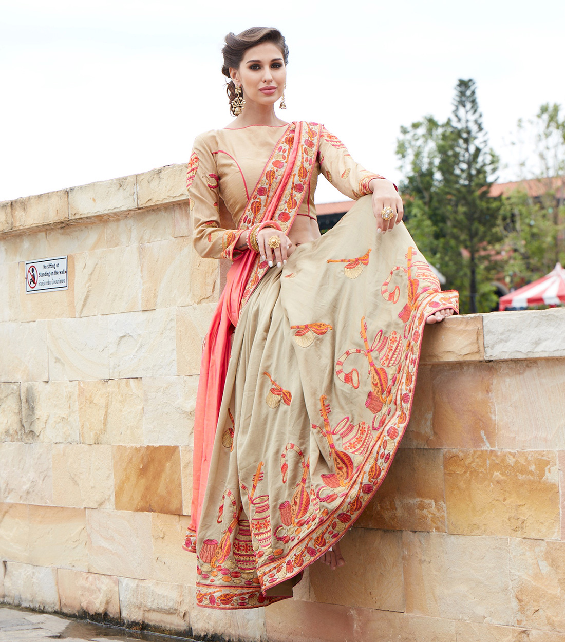 Appealing Pink And Cream Designer Embroidered Saree