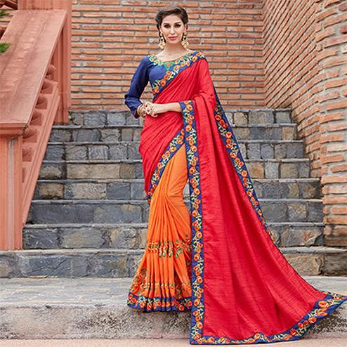 Stylish Red And Orange Designer Saree