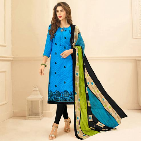 Viva N Diva Blue Colored Cotton Salwar Suit