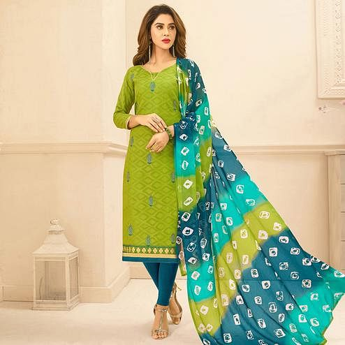 Viva N Diva Green Colored Cotton Salwar Suit