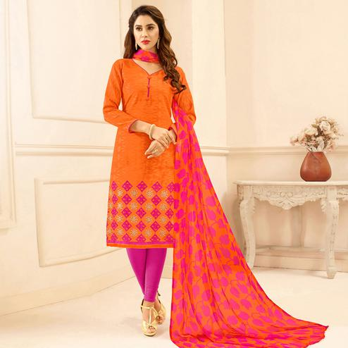 Viva N Diva Orange Colored Cotton Salwar Suit