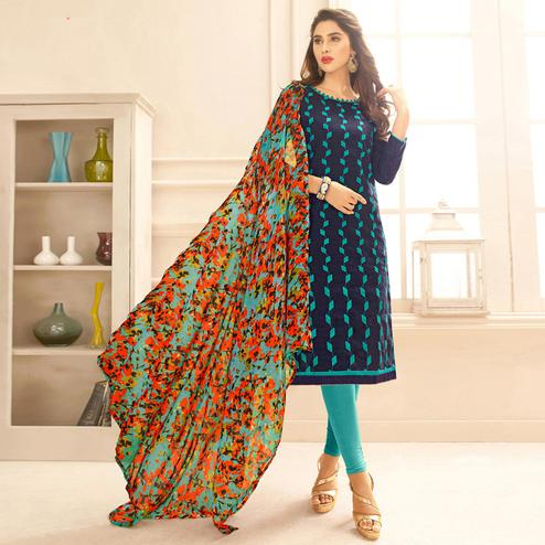 Viva N Diva Navy Blue Colored Cotton Salwar Suit