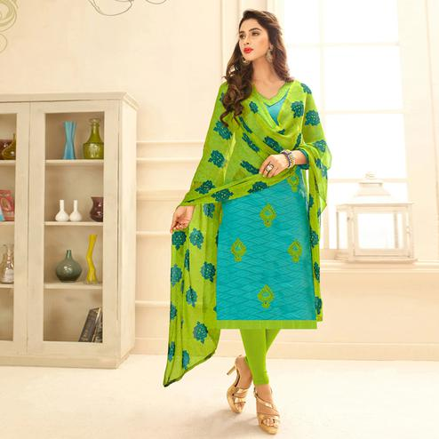 Viva N Diva Sky Blue Colored Cotton Salwar Suit