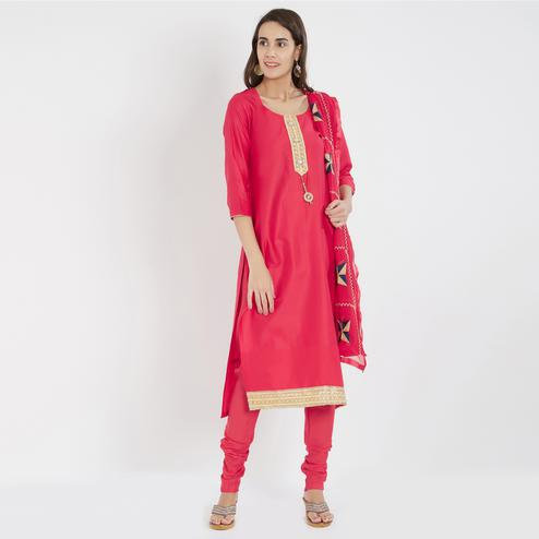 Viva N Diva Red Colored Cotton Salwar Suit