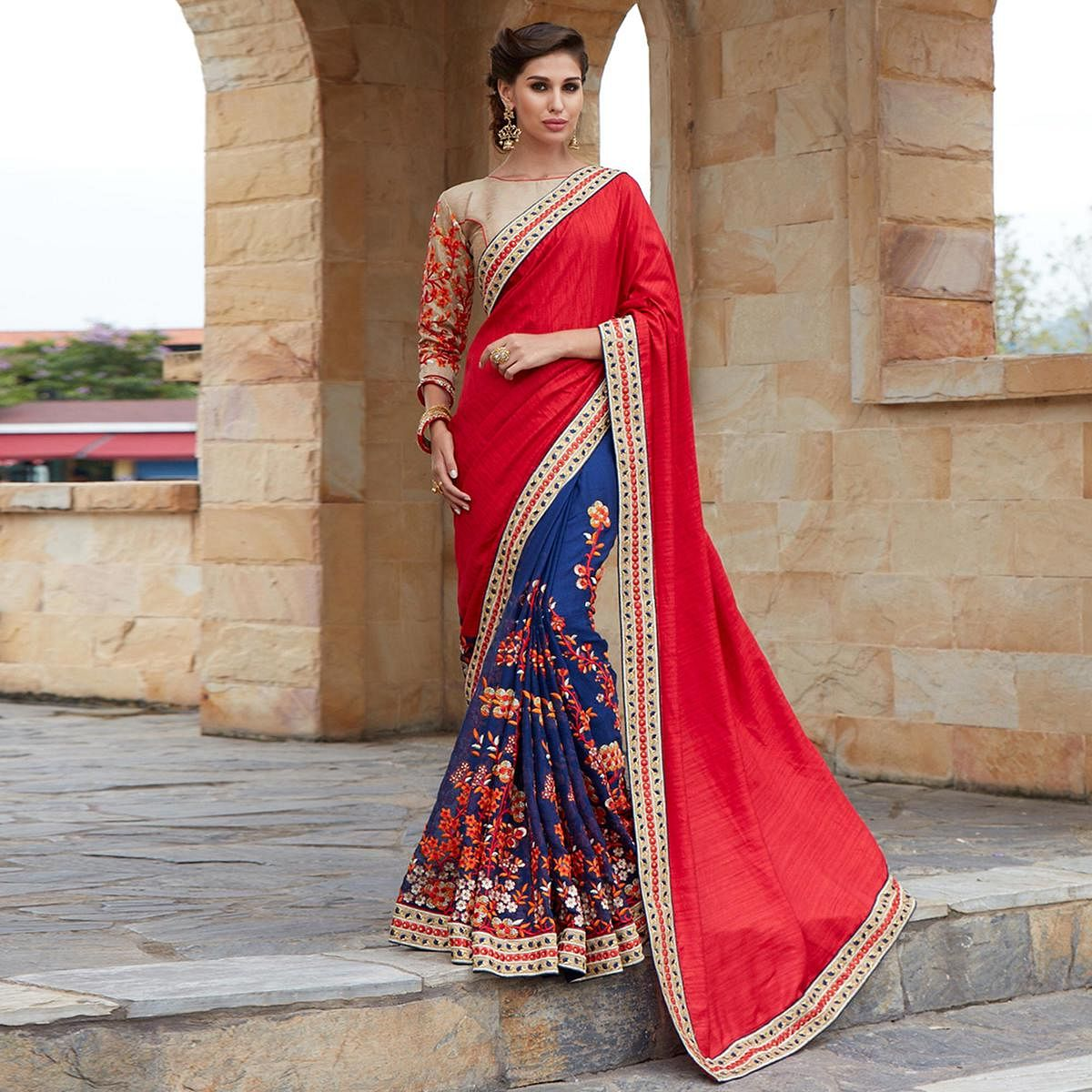Beautiful Red And Blue Designer Embroidered Saree
