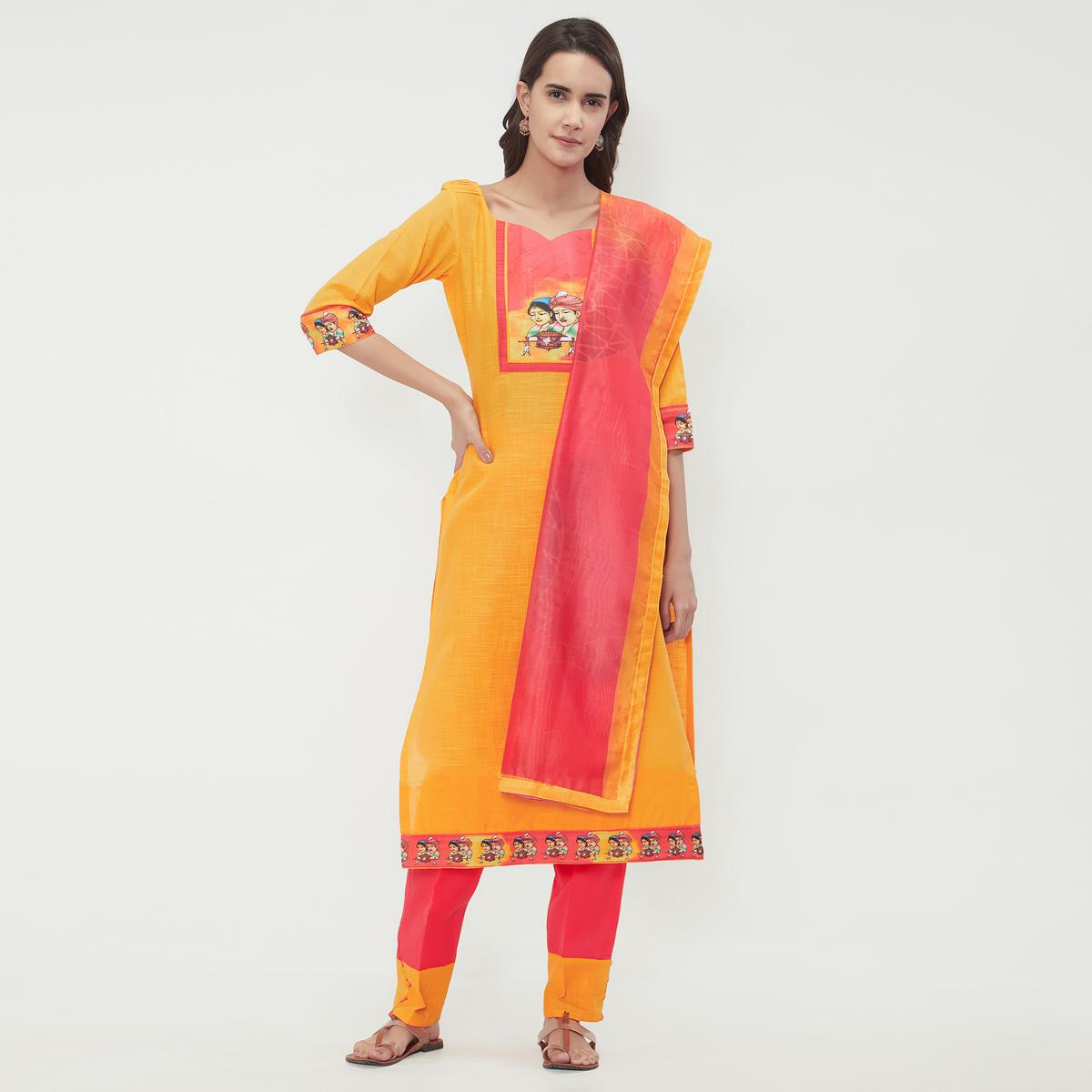 Viva N Diva Yellow Colored Cotton Salwar Suit